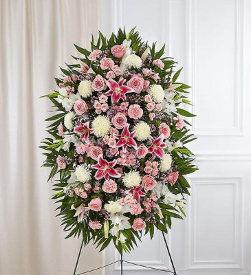 PINK AND WHITE FUNERAL STANDING SPRAY