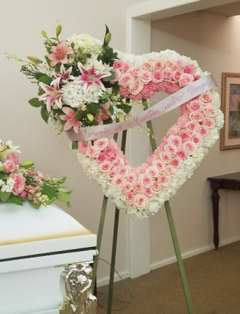 Pink and White Heart Standing Spray Funeral