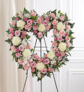 Pink and White Open Heart Standing Spray