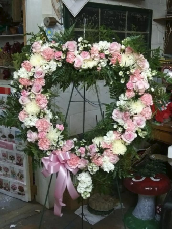 PINK AND WHITE OPEN HEART STANDING SPRAYS & WREATHES