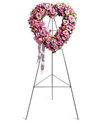 PINK  AND WHITE OPEN HEART-TB 6' STANDING SPRAY ON STAND