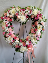 Pink and White Open Heart Wreath