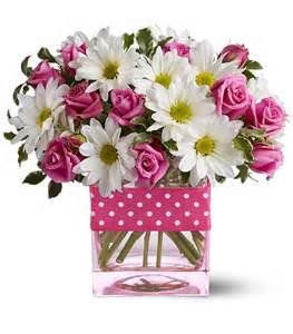 Pink and White Polka Dots Floral Arrangement