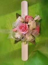 Pink and White Rose Snap Band wrist corsage