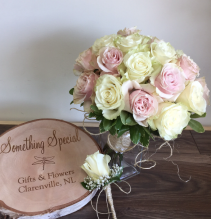 Pink and white roses Wedding bouquet
