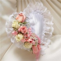 Pink and White Satin Heart Pillow