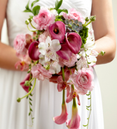 THE FTD® PINK CASCADE™ BOUQUET W30-5081 Bridal Bouquet-Semi Cascading