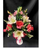 Pink and White Silk Cemetery Vase Arrangement