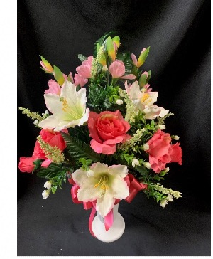 Pink and White Silk Cemetery Vase Arrangement in Red Lake, ON | FOREVER GREEN GIFT BOUTIQUE