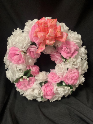 Pink and White Silk Sympathy Wreath in Red Lake, ON | FOREVER GREEN GIFT BOUTIQUE