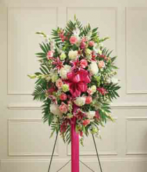 pink and white spray Funeral