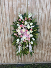 Pink and White Spray  Funeral Spray
