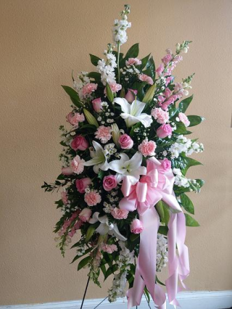 Pink and White Spray Standing Spray