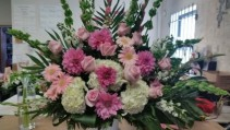 Pink And White Tribute  Funeral basket in shades of Pink and White