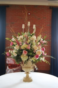 Pink and White Urn Reception Decor