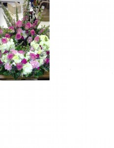 Pink and White Urn Wreath Urn Wreath