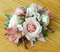 Pink and white wrist corsage  Corsage
