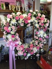 Pink and Wnite Open Heart Easel Arrangement