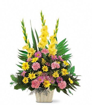 Pink And Yellow Funeral Basket In Clarksville Tn Flowers By Tara