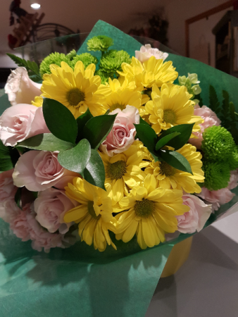 THINKING OF YOU BOUQUET Pink and sunny yellow blooms