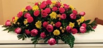 Pink and Yellow Mixed Casket Spray Sympathy