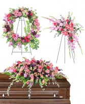Pink assorted funeral package Wreath, Standing Spray, and Casket Piece