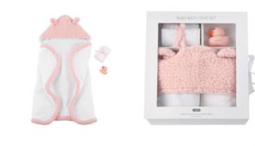 Pink baby bath set