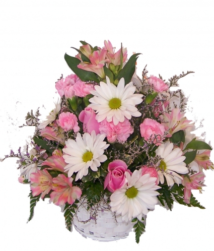 PINK BASKET  BASKET ARRANGEMENT
