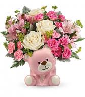 pink bear baby arrangement new baby