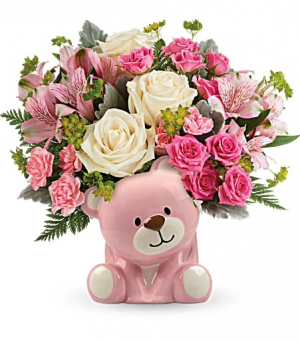 pink bear baby arrangement new baby in Covington, GA   A Bouquet By Betty