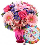 Pink Birthday Bash + Free Birthday Balloon! Birthday Bouquet + Free Birthday Mylar Balloon