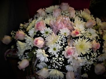 Pink Blush casket spray