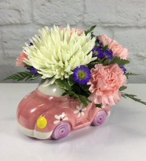 Pink Car  Arrangement  in South Milwaukee, WI | PARKWAY FLORAL INC.