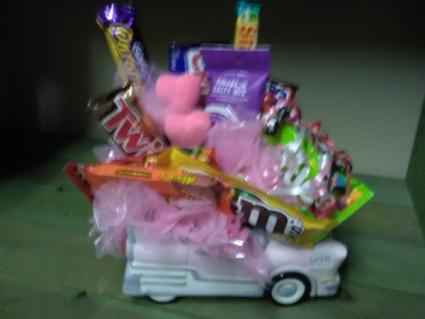 pink car candy boquet candy arrangement