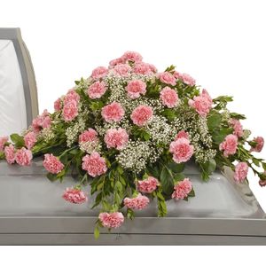 Pink Carnation and Babies Breath Casket spray Funeral Arrangement