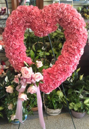 Pink Carnation Open Heart with Rose Spray Spray