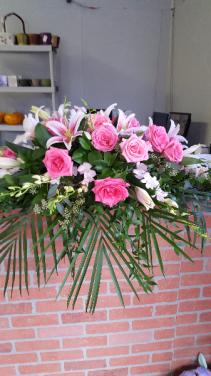 pink casket spray