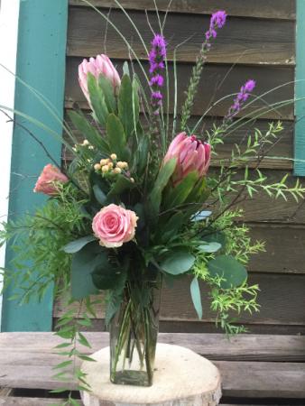 pink charmer flower arrangement
