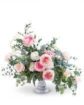 Pink Chiffon Compote Flower Arrangement