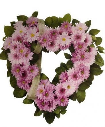 Pink Chrysanthimum Heart Funeral