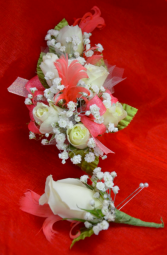 Coral Corsage and Boutonniere-2C & 2D