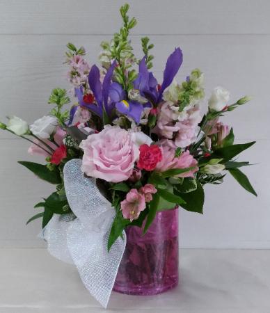 Pink Crackle Cylinder Floral Design