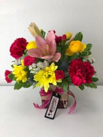 Spring Cubed Vase Arrangement