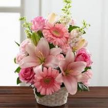 Pink Cute Basket Flower Basket Arrangement