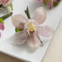 Pink Cymbidium Boutonniere Wedding Flowers