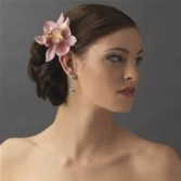Pink Cymbidium orchid hair piece