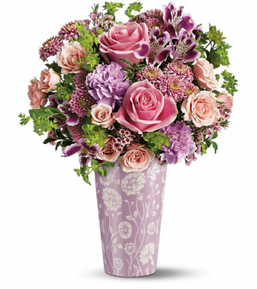 Pink Damask Vase One-Sided Floral Arrangement