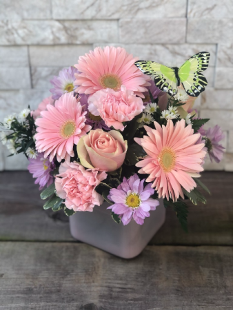 Pink Delight Cube Vase