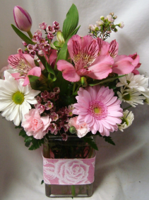 """Pink Delight"" shades of pinks and white daisies with a cute riboon around vase!"