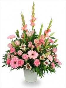 Pink Delightful sympathy arrangement